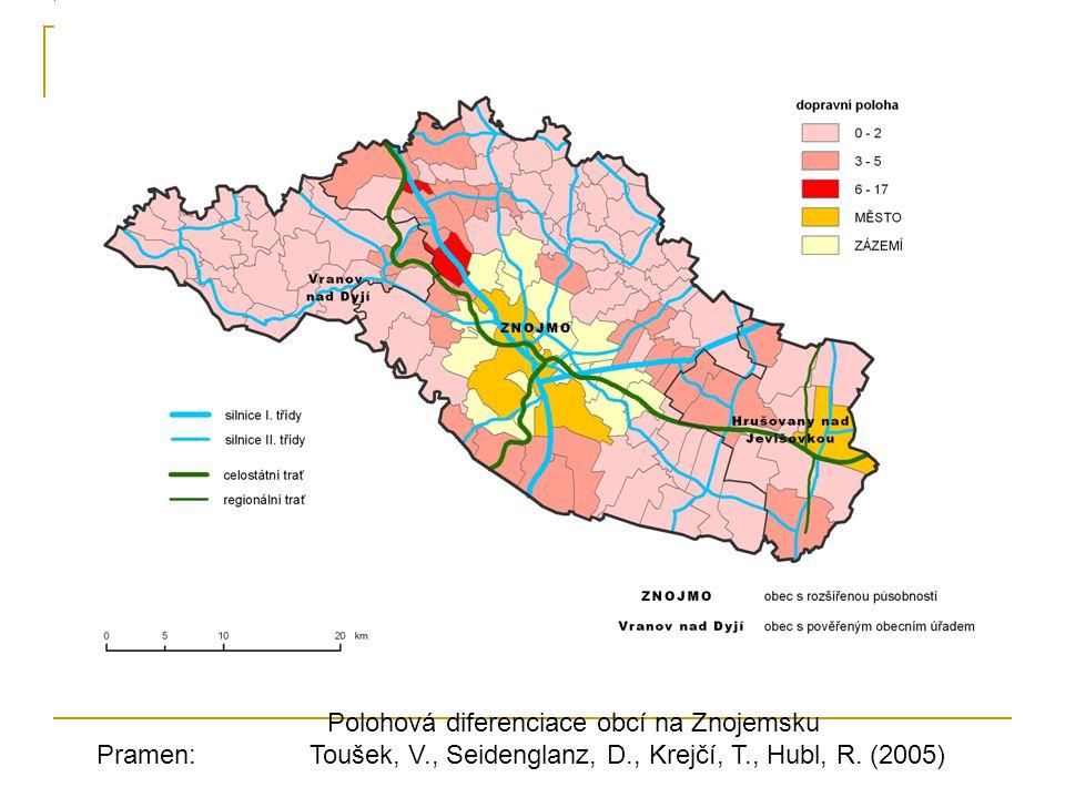 Polohová diferenciace obcí na Znojemsku Pramen: Toušek, V., Seidenglanz, D., Krejčí, T., Hubl, R.