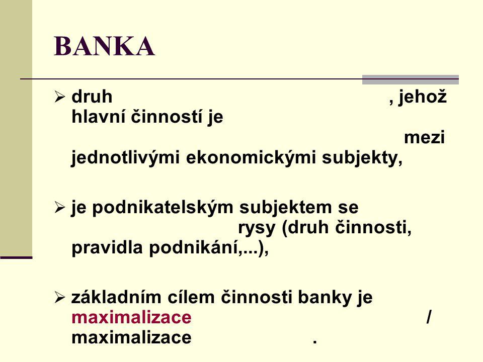 BANKA  druh, jehož hlavní činností je mezi jednotlivými ekonomickými subjekty,  je podnikatelským subjektem se rysy (druh činnosti, pravidla podniká