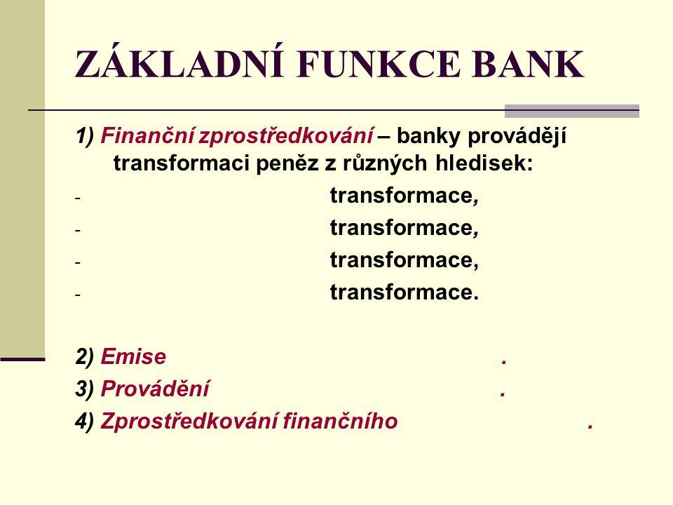 ZÁKLADNÍ FUNKCE BANK 1) Finanční zprostředkování – banky provádějí transformaci peněz z různých hledisek: - transformace, - transformace. 2) Emise. 3)