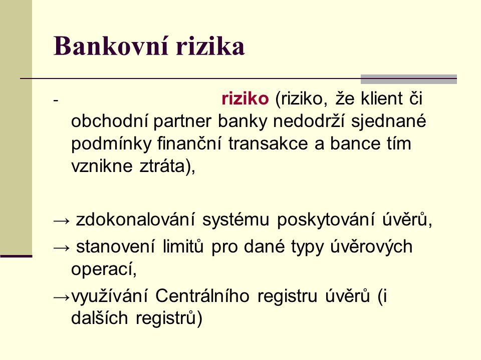 Bankovní rizika - riziko (riziko, že klient či obchodní partner banky nedodrží sjednané podmínky finanční transakce a bance tím vznikne ztráta), → zdo