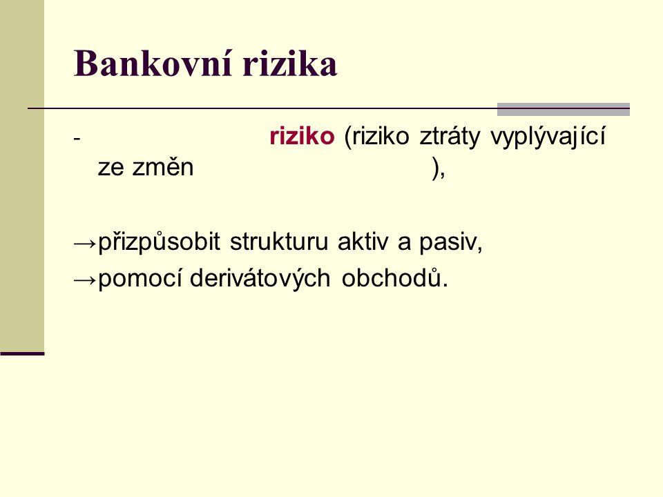 - riziko (riziko ztráty vyplývající ze změn ), → přizpůsobit strukturu aktiv a pasiv, → pomocí derivátových obchodů.