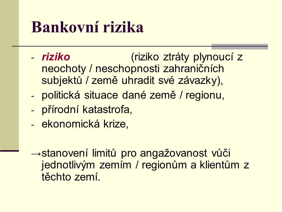 Bankovní rizika - riziko (riziko ztráty plynoucí z neochoty / neschopnosti zahraničních subjektů / země uhradit své závazky), - politická situace dané