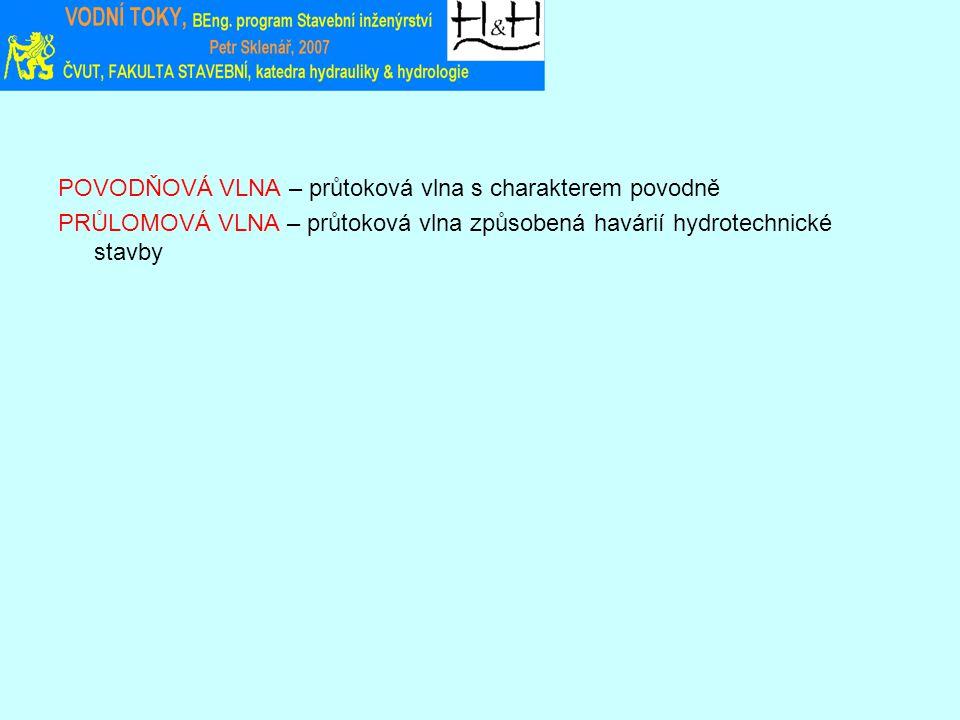 POVODŇOVÁ VLNA – průtoková vlna s charakterem povodně PRŮLOMOVÁ VLNA – průtoková vlna způsobená havárií hydrotechnické stavby