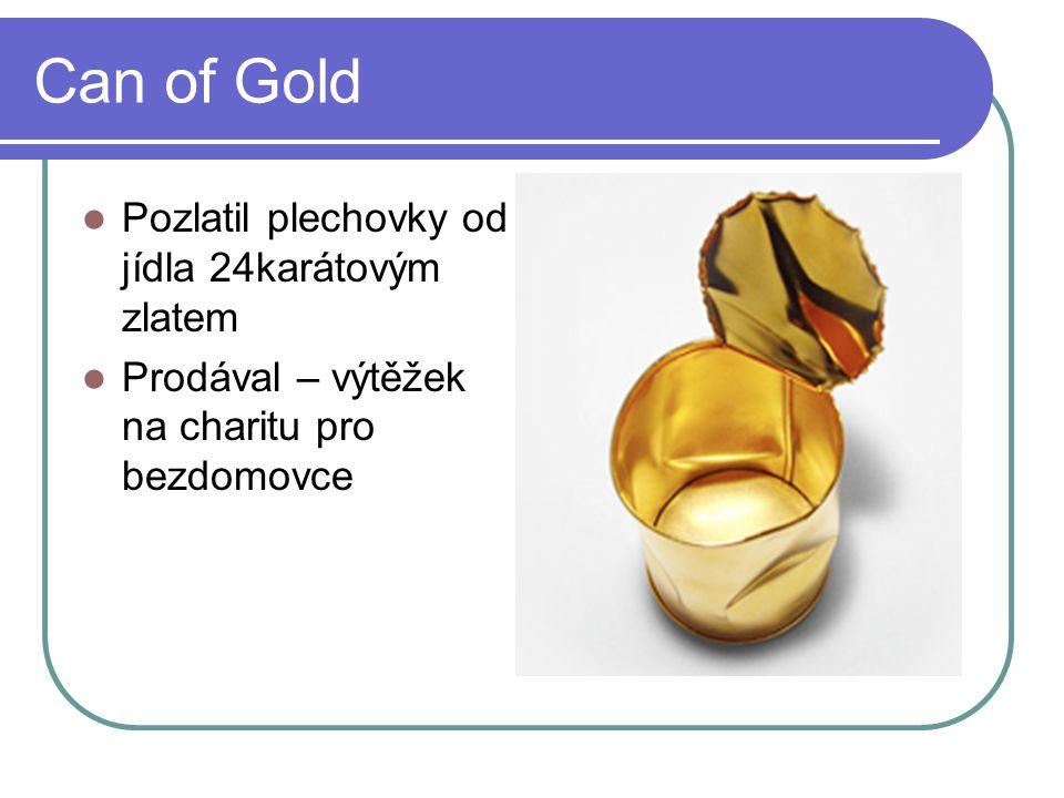 Can of Gold Pozlatil plechovky od jídla 24karátovým zlatem Prodával – výtěžek na charitu pro bezdomovce