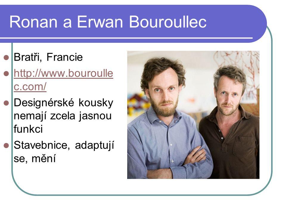 Ronan a Erwan Bouroullec Bratři, Francie http://www.bouroulle c.com/ http://www.bouroulle c.com/ Designérské kousky nemají zcela jasnou funkci Stavebnice, adaptují se, mění
