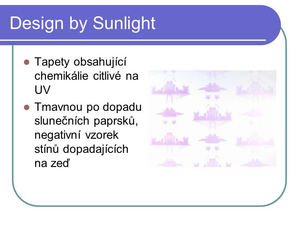 Design by Sunlight Tapety obsahující chemikálie citlivé na UV Tmavnou po dopadu slunečních paprsků, negativní vzorek stínů dopadajících na zeď