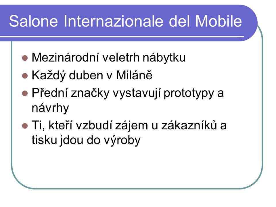 Salone Internazionale del Mobile Mezinárodní veletrh nábytku Každý duben v Miláně Přední značky vystavují prototypy a návrhy Ti, kteří vzbudí zájem u zákazníků a tisku jdou do výroby