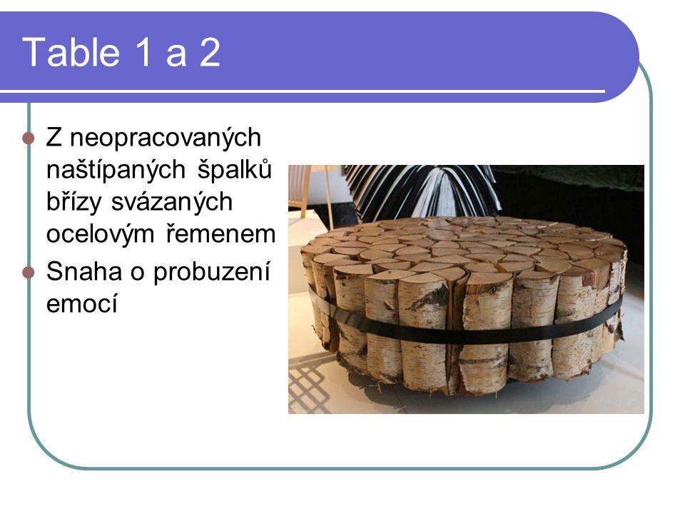 Table 1 a 2 Z neopracovaných naštípaných špalků břízy svázaných ocelovým řemenem Snaha o probuzení emocí