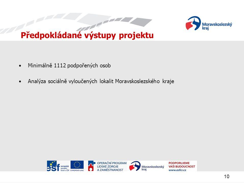 10 Předpokládané výstupy projektu Minimálně 1112 podpořených osob Analýza sociálně vyloučených lokalit Moravskoslezského kraje