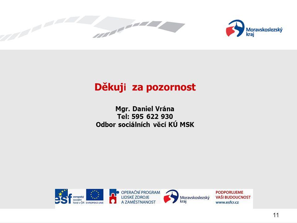 11 Děkuj i za pozornost Mgr. Daniel Vrána Tel: 595 622 930 Odbor sociálních věcí KÚ MSK