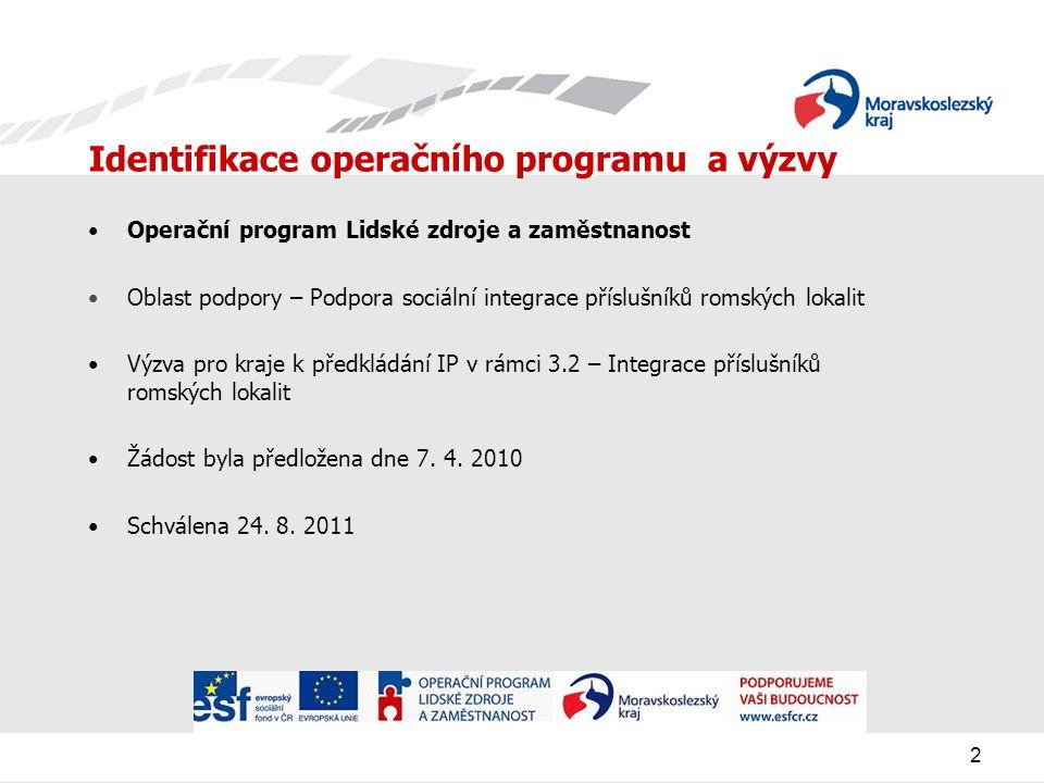 2 Identifikace operačního programu a výzvy Operační program Lidské zdroje a zaměstnanost Oblast podpory – Podpora sociální integrace příslušníků romských lokalit Výzva pro kraje k předkládání IP v rámci 3.2 – Integrace příslušníků romských lokalit Žádost byla předložena dne 7.