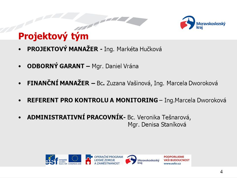 4 Projektový tým PROJEKTOVÝ MANAŽER - Ing.Markéta Hučková ODBORNÝ GARANT – Mgr.