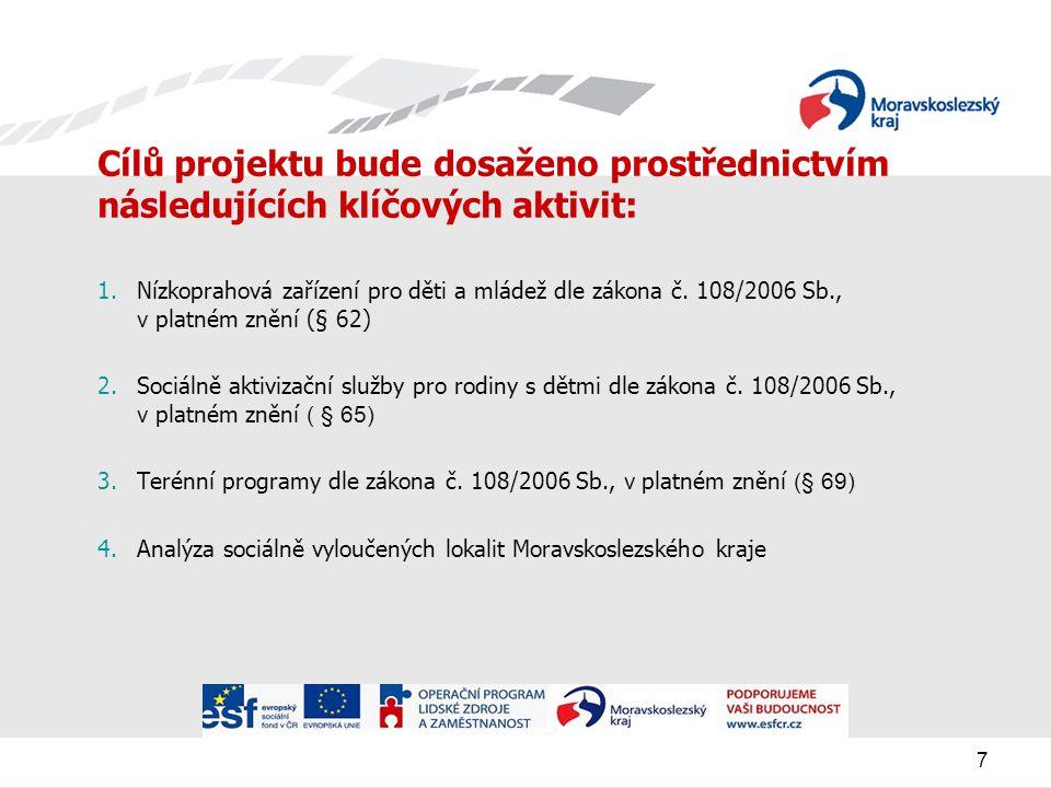 7 Cílů projektu bude dosaženo prostřednictvím následujících klíčových aktivit: 1.Nízkoprahová zařízení pro děti a mládež dle zákona č.