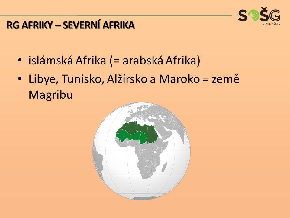 islámská Afrika (= arabská Afrika) Libye, Tunisko, Alžírsko a Maroko = země Magribu RG AFRIKY – SEVERNÍ AFRIKA