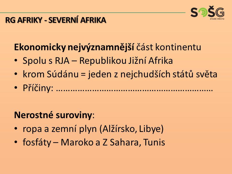 Ekonomicky nejvýznamnější část kontinentu Spolu s RJA – Republikou Jižní Afrika krom Súdánu = jeden z nejchudších států světa Příčiny: ………………………………………