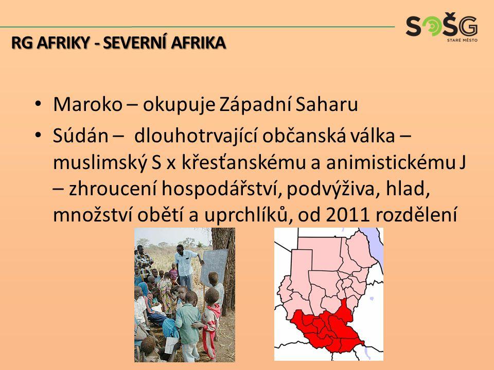 Maroko – okupuje Západní Saharu Súdán – dlouhotrvající občanská válka – muslimský S x křesťanskému a animistickému J – zhroucení hospodářství, podvýži
