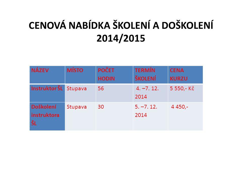 CENOVÁ NABÍDKA ŠKOLENÍ A DOŠKOLENÍ 2014/2015 NÁZEVMÍSTO POČET HODIN TERMÍN ŠKOLENÍ CENA KURZU Instruktor ŠLStupava56 4.