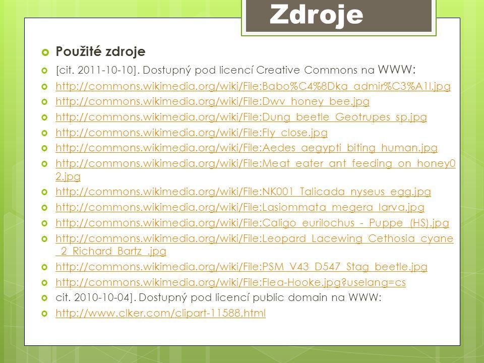  Použité zdroje  [cit. 2011-10-10]. Dostupný pod licencí Creative Commons na WWW:  http://commons.wikimedia.org/wiki/File:Babo%C4%8Dka_admir%C3%A1l