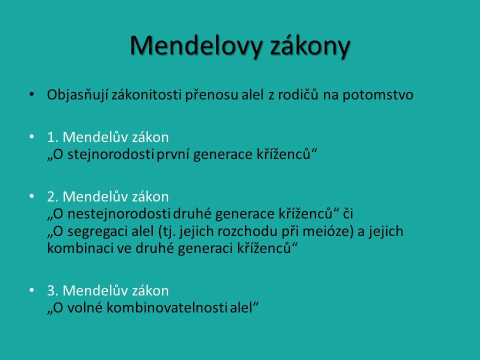 Mendelovy zákony Objasňují zákonitosti přenosu alel z rodičů na potomstvo 1.