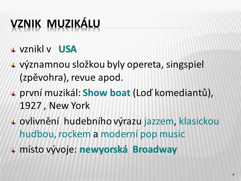 vznikl v U USA významnou složkou byly opereta, singspiel (zpěvohra), revue apod. první muzikál: Show boat (Loď komediantů), 1927, New York ovlivnění h