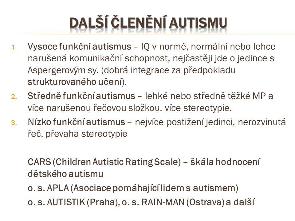 1. Vysoce funkční autismus – IQ v normě, normální nebo lehce narušená komunikační schopnost, nejčastěji jde o jedince s Aspergerovým sy. (dobrá integr