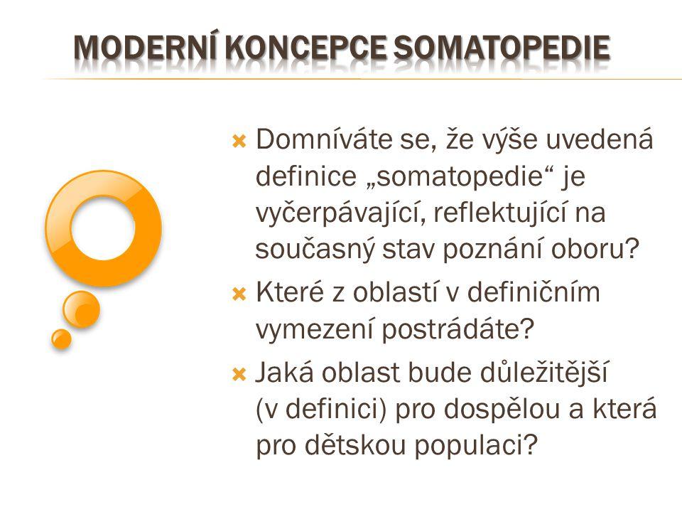 """ Domníváte se, že výše uvedená definice """"somatopedie"""" je vyčerpávající, reflektující na současný stav poznání oboru?  Které z oblastí v definičním v"""