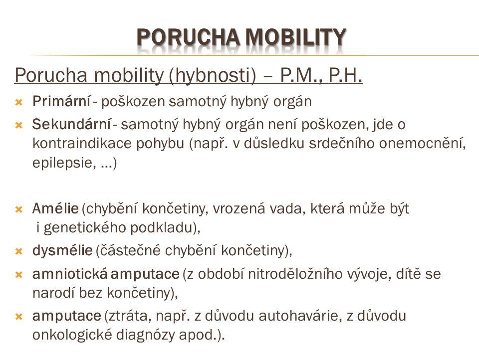 Porucha mobility (hybnosti) – P.M., P.H.  Primární - poškozen samotný hybný orgán  Sekundární - samotný hybný orgán není poškozen, jde o kontraindik