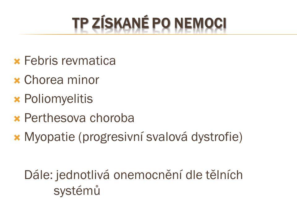  Febris revmatica  Chorea minor  Poliomyelitis  Perthesova choroba  Myopatie (progresivní svalová dystrofie) Dále: jednotlivá onemocnění dle těln