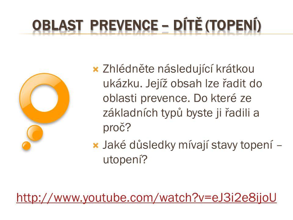 http://www.youtube.com/watch?v=eJ3i2e8ijoU  Zhlédněte následující krátkou ukázku. Jejíž obsah lze řadit do oblasti prevence. Do které ze základních t