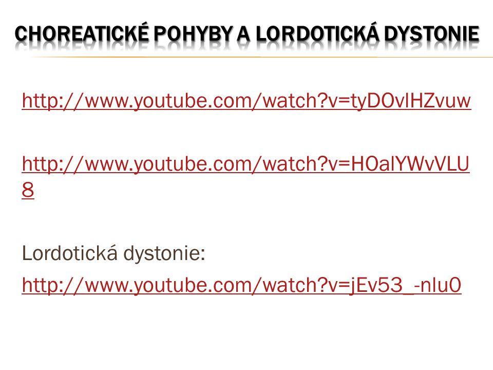 http://www.youtube.com/watch?v=tyDOvlHZvuw http://www.youtube.com/watch?v=HOalYWvVLU 8 Lordotická dystonie: http://www.youtube.com/watch?v=jEv53_-nlu0