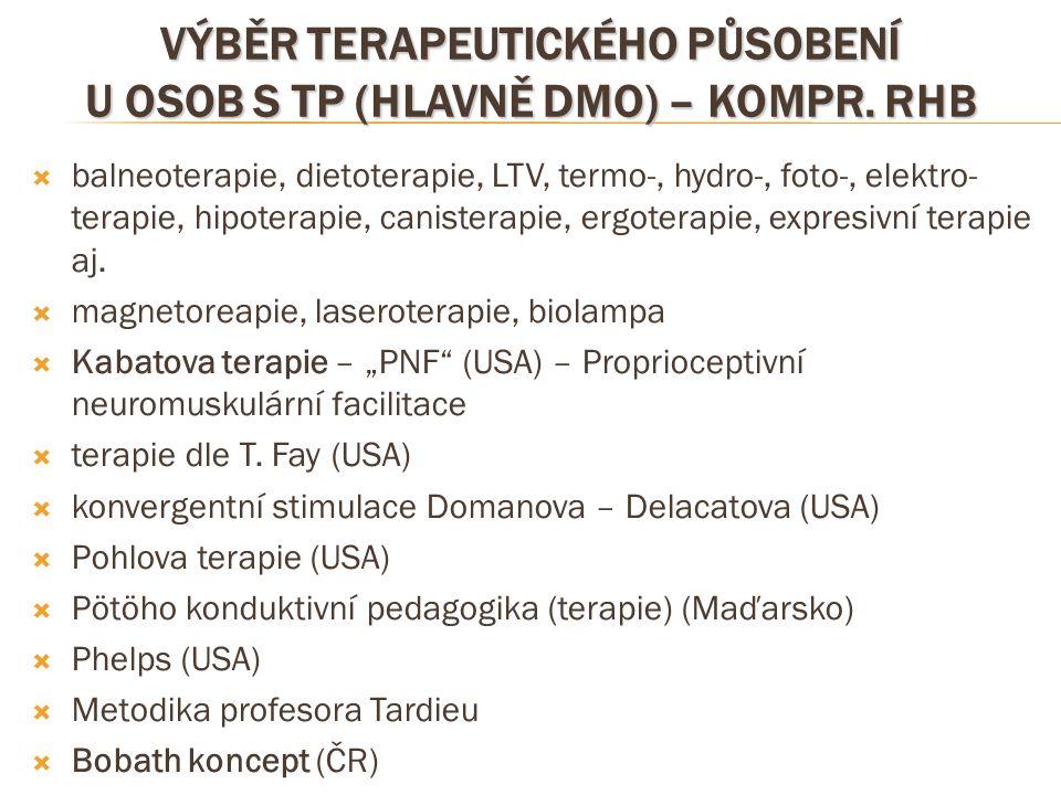 VÝBĚR TERAPEUTICKÉHO PŮSOBENÍ U OSOB S TP (HLAVNĚ DMO) – KOMPR. RHB  balneoterapie, dietoterapie, LTV, termo-, hydro-, foto-, elektro- terapie, hipot