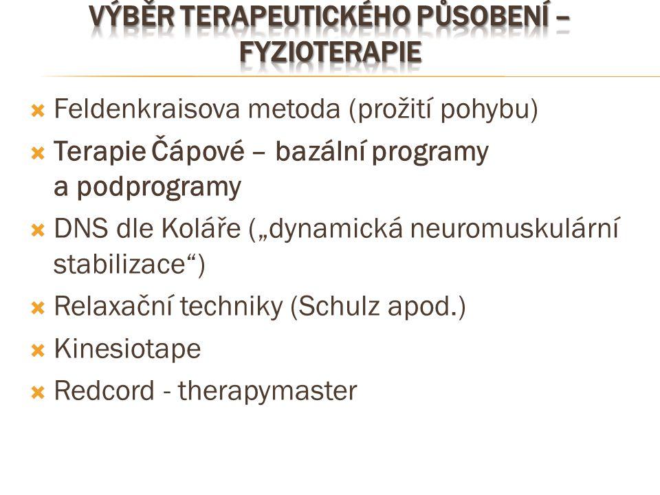 """ Feldenkraisova metoda (prožití pohybu)  Terapie Čápové – bazální programy a podprogramy  DNS dle Koláře (""""dynamická neuromuskulární stabilizace"""")"""