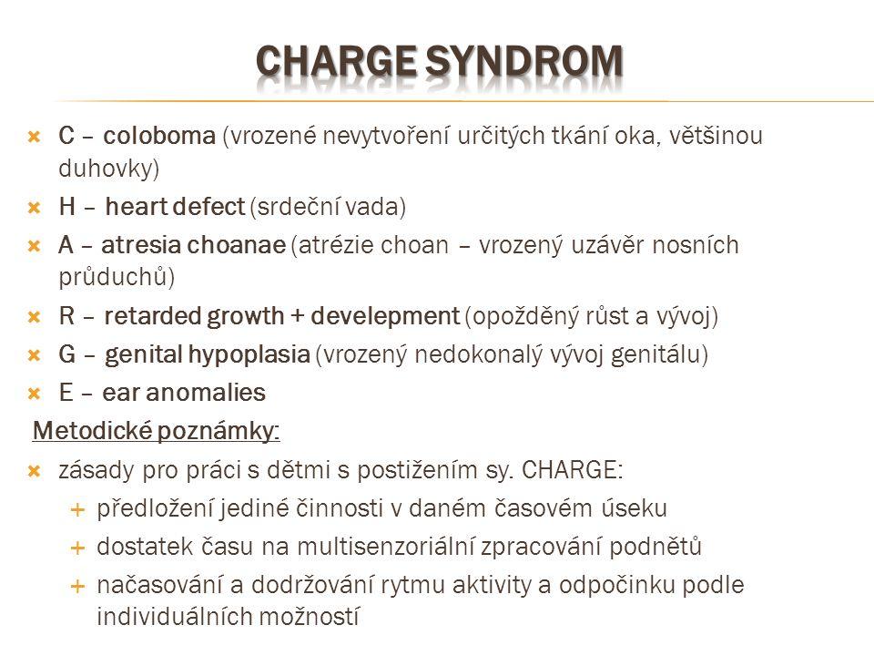  C – coloboma (vrozené nevytvoření určitých tkání oka, většinou duhovky)  H – heart defect (srdeční vada)  A – atresia choanae (atrézie choan – vro
