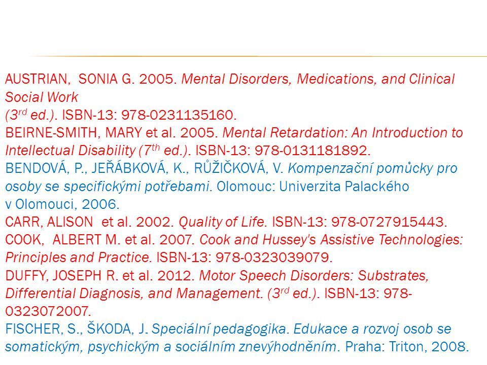 AUSTRIAN, SONIA G. 2005. Mental Disorders, Medications, and Clinical Social Work (3 rd ed.). ISBN-13: 978-0231135160. BEIRNE-SMITH, MARY et al. 2005.