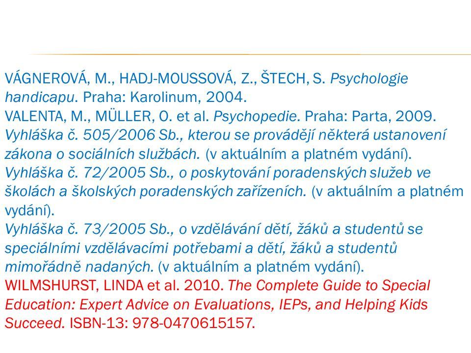 VÁGNEROVÁ, M., HADJ-MOUSSOVÁ, Z., ŠTECH, S. Psychologie handicapu. Praha: Karolinum, 2004. VALENTA, M., MÜLLER, O. et al. Psychopedie. Praha: Parta, 2