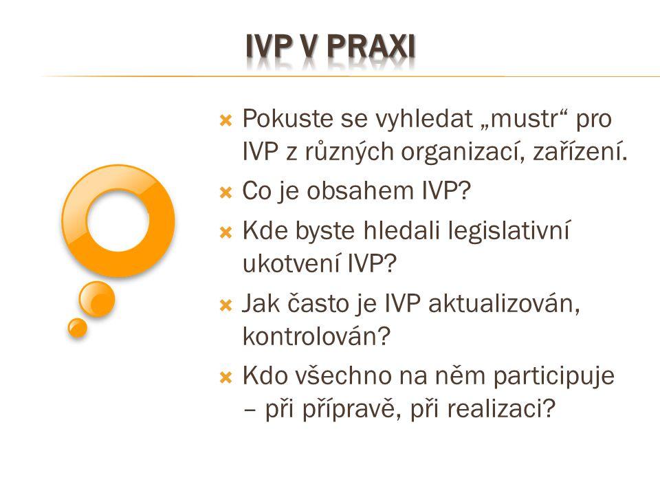 """ Pokuste se vyhledat """"mustr"""" pro IVP z různých organizací, zařízení.  Co je obsahem IVP?  Kde byste hledali legislativní ukotvení IVP?  Jak často"""