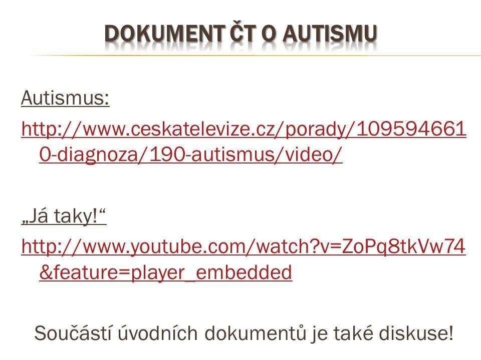 "Autismus: http://www.ceskatelevize.cz/porady/109594661 0-diagnoza/190-autismus/video/ ""Já taky!"" http://www.youtube.com/watch?v=ZoPq8tkVw74 &feature=p"