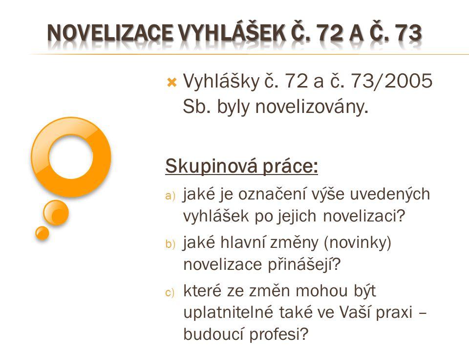  Vyhlášky č. 72 a č. 73/2005 Sb. byly novelizovány. Skupinová práce: a) jaké je označení výše uvedených vyhlášek po jejich novelizaci? b) jaké hlavní
