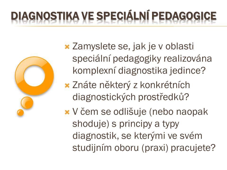  Zamyslete se, jak je v oblasti speciální pedagogiky realizována komplexní diagnostika jedince?  Znáte některý z konkrétních diagnostických prostřed