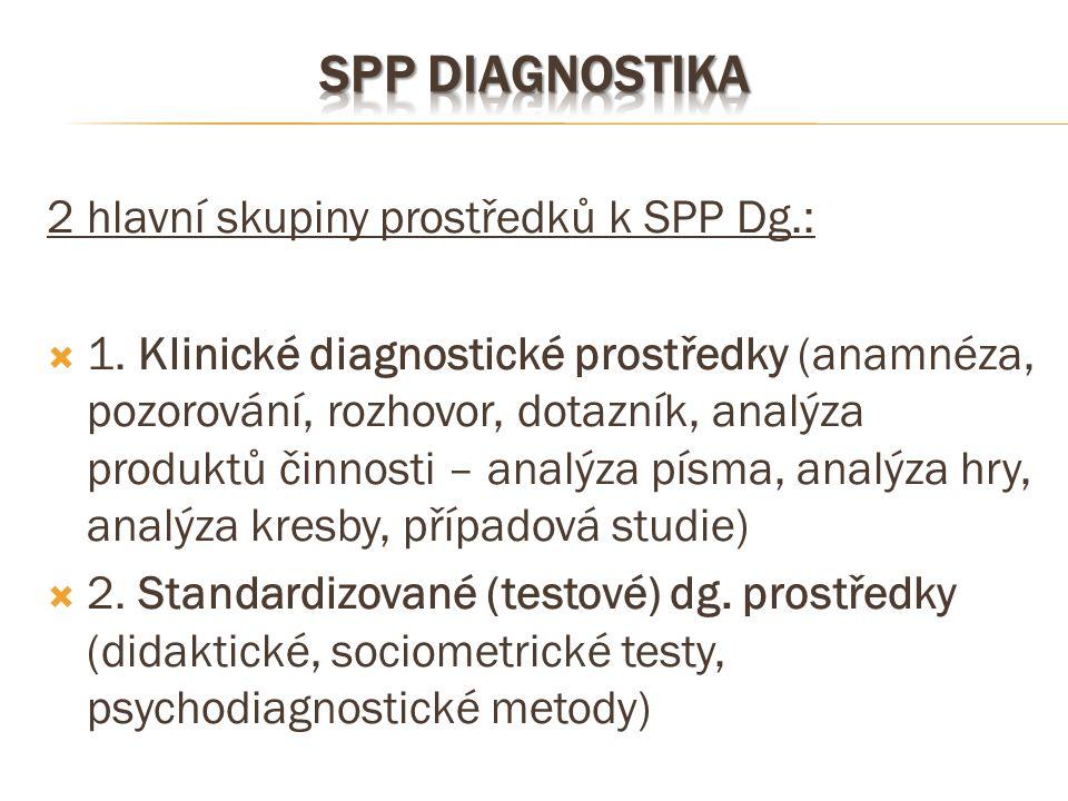 2 hlavní skupiny prostředků k SPP Dg.:  1. Klinické diagnostické prostředky (anamnéza, pozorování, rozhovor, dotazník, analýza produktů činnosti – an