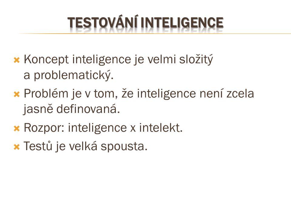  Koncept inteligence je velmi složitý a problematický.  Problém je v tom, že inteligence není zcela jasně definovaná.  Rozpor: inteligence x intele