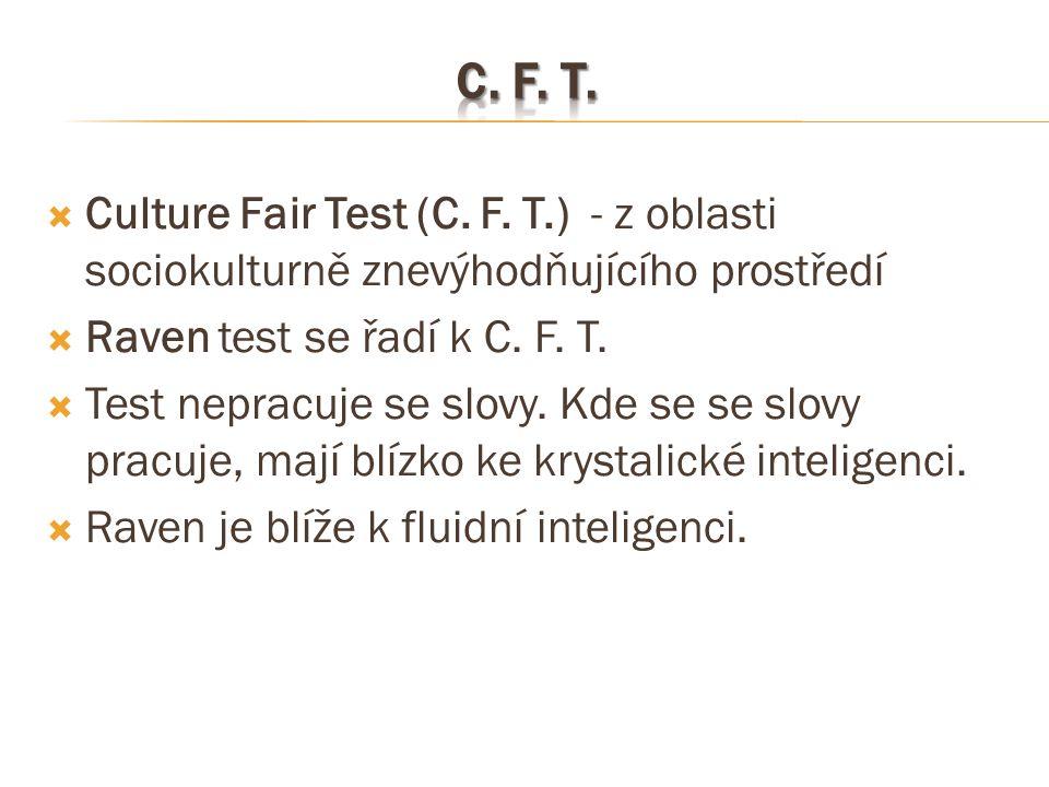  Culture Fair Test (C. F. T.) - z oblasti sociokulturně znevýhodňujícího prostředí  Raven test se řadí k C. F. T.  Test nepracuje se slovy. Kde se