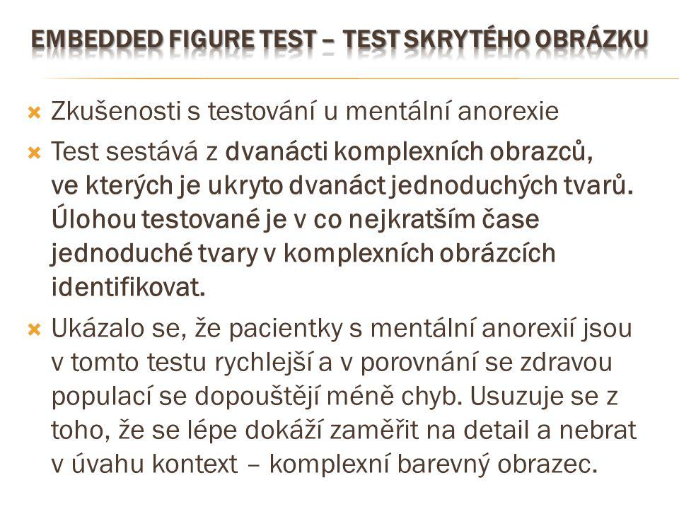  Zkušenosti s testování u mentální anorexie  Test sestává z dvanácti komplexních obrazců, ve kterých je ukryto dvanáct jednoduchých tvarů. Úlohou te