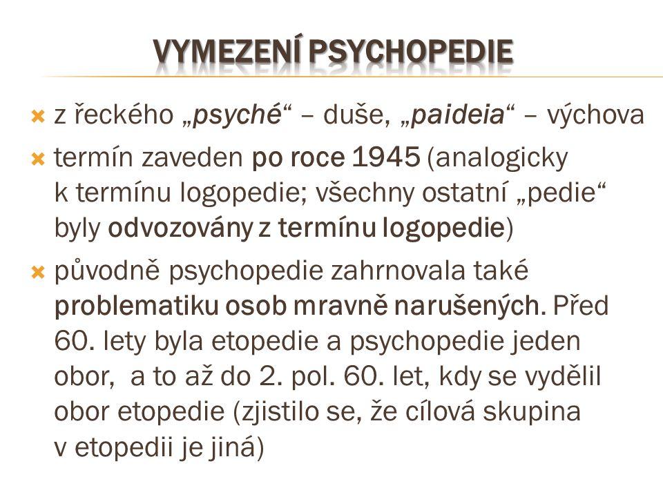 """ z řeckého """"psyché"""" – duše, """"paideia"""" – výchova  termín zaveden po roce 1945 (analogicky k termínu logopedie; všechny ostatní """"pedie"""" byly odvozován"""