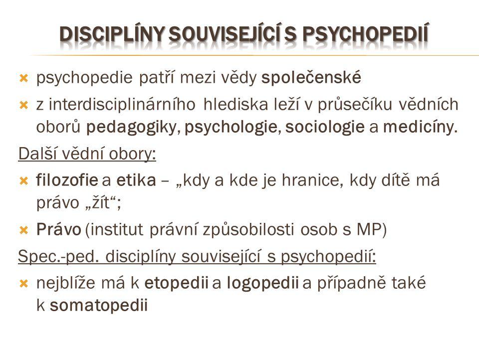  psychopedie patří mezi vědy společenské  z interdisciplinárního hlediska leží v průsečíku vědních oborů pedagogiky, psychologie, sociologie a medic