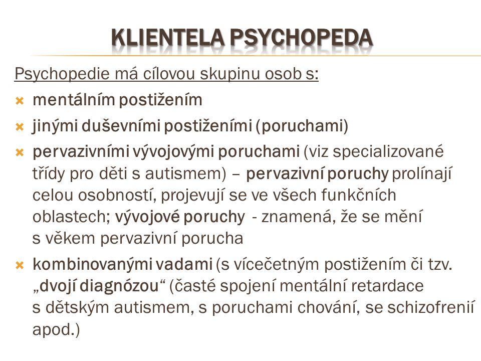 Psychopedie má cílovou skupinu osob s:  mentálním postižením  jinými duševními postiženími (poruchami)  pervazivními vývojovými poruchami (viz spec