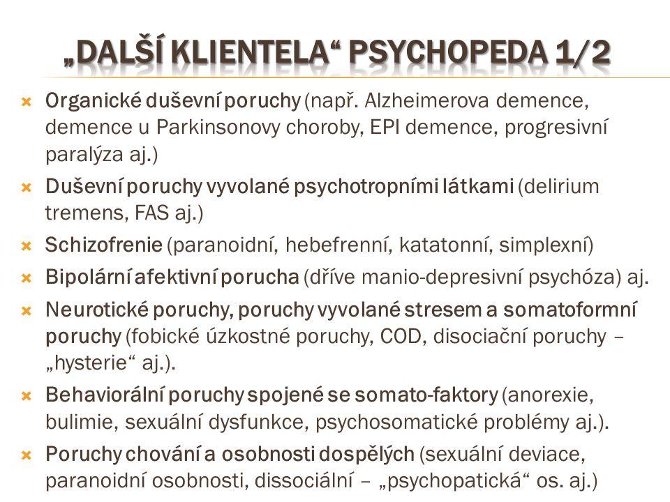  Organické duševní poruchy (např. Alzheimerova demence, demence u Parkinsonovy choroby, EPI demence, progresivní paralýza aj.)  Duševní poruchy vyvo