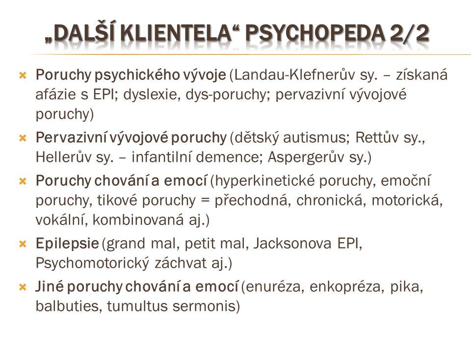  Poruchy psychického vývoje (Landau-Klefnerův sy. – získaná afázie s EPI; dyslexie, dys-poruchy; pervazivní vývojové poruchy)  Pervazivní vývojové p