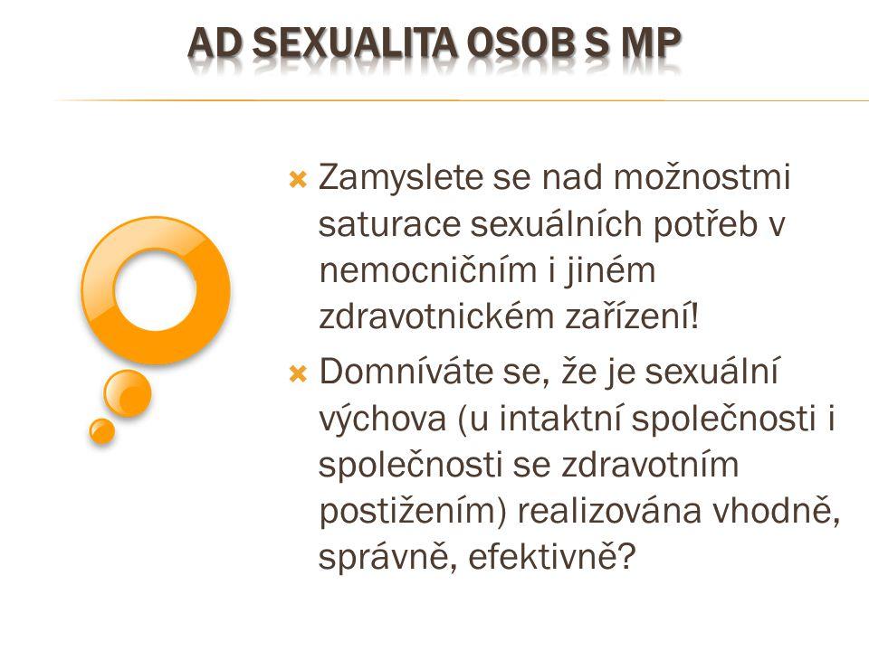  Zamyslete se nad možnostmi saturace sexuálních potřeb v nemocničním i jiném zdravotnickém zařízení!  Domníváte se, že je sexuální výchova (u intakt
