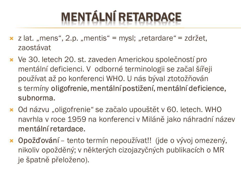 """ z lat. """"mens"""", 2.p. """"mentis"""" = mysl; """"retardare"""" = zdržet, zaostávat  Ve 30. letech 20. st. zaveden Americkou společností pro mentální deficienci."""